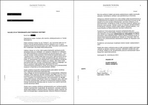 cease-and-desist by Borenius law firm